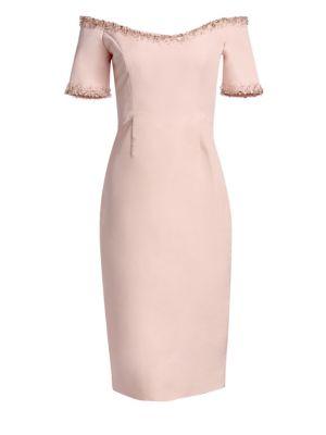CATHERINE REGEHR | Oriel Off-The-Shoulder Embellished-Trim Sheath Dress | Goxip