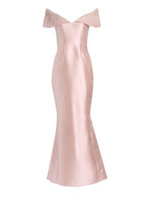 Anna Off-The-Shoulder Embellished Trumpet Gown