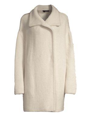 Elsie Oversized Fuzz Wool-Blend Coat, Limestone