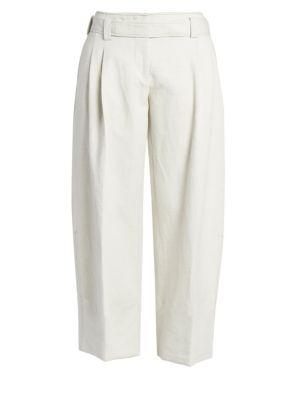Cuffed Linen-Blend Pants
