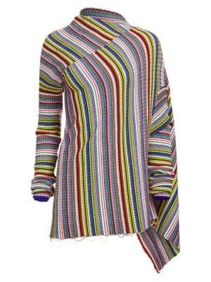 MARQUES ' ALMEIDA | Draped Multicolor Stripe Draped Sweater | Goxip