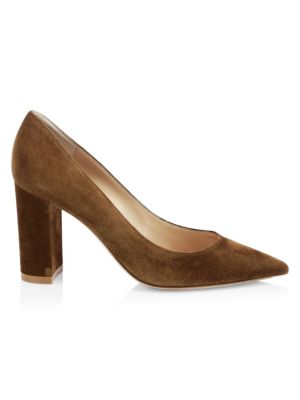 Suede Point Toe Pumps by Gianvito Rossi