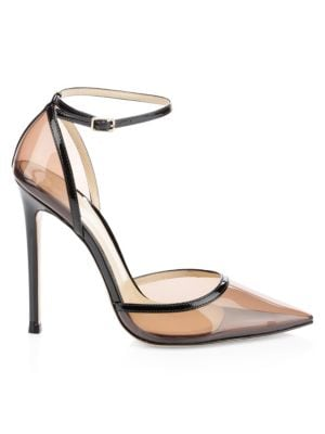 Clear Point-Toe Ankle-Strap Pumps