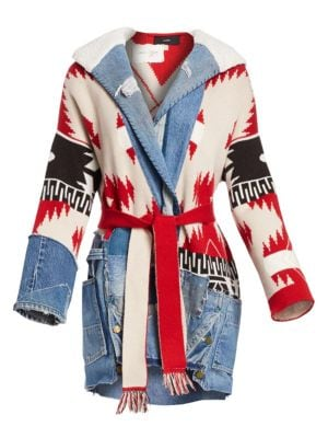 Icon Patch Faux Shearling Collar Knit Cashmere-Blend Coat