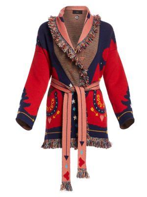 Good Luck Jacquard Knit Cashmere Cardigan
