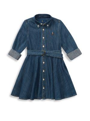 Little Girl's & Girl's Belted Denim Shirtdress