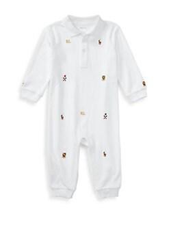 폴로 랄프로렌 남아용 아기 커버올 우주복 Polo Ralph Lauren Baby Boys Embroidered Cotton Coverall,White