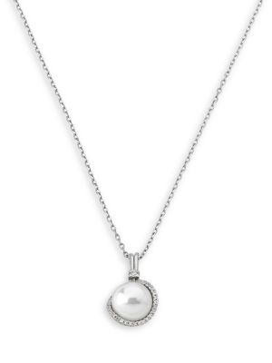 Sterling Silver and 12MM White Pearl Pendant Necklace