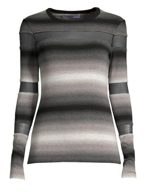 Striped Illusion Cutout Top