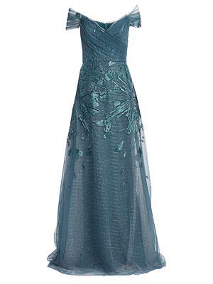 Off-The-Shoulder Embellished Tulle Gown