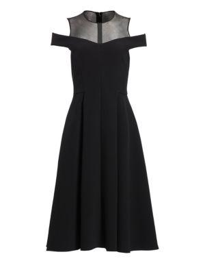 Illusion Yoke Cold-Shoulder A-Line Dress