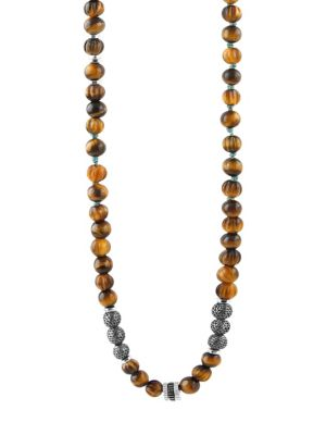 TATEOSSIAN | Formentera Sterling Silver & Tiger'S Eye Beaded Necklace | Goxip