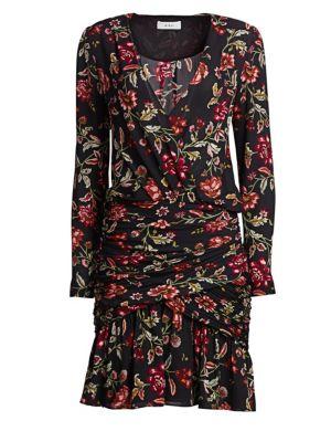 Haven Shirred Floral Silk Cocktail Dress, Black Terracotta