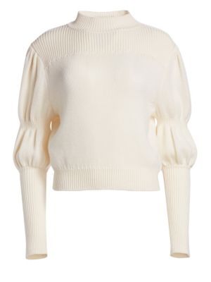 DEREK LAM 10 CROSBY | Wool Puff-Sleeve Sweater | Goxip
