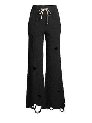 TWENTY TEES Raines Wide Leg Slashed Pants in Jet Black