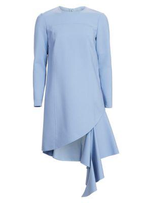 OSCAR DE LA RENTA Asymmetrical Ruffle Hem Stretch Wool Dress in Blue