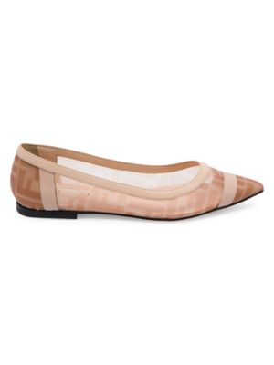 Leather-Trimmed Mesh Flats