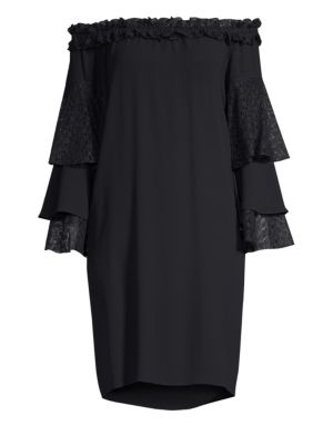 Off-The-Shoulder Lace Ruffle Sleeve Dress