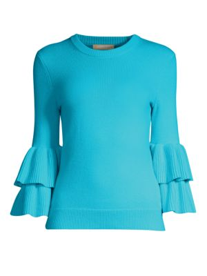 Double Ruffle Sleeve Cashmere Sweater