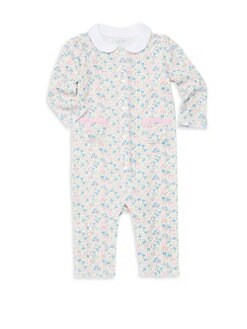 폴로 랄프로렌 여아용 아기 커버올 우주복 Polo Ralph Lauren Baby Girls Floral Print Cotton Coverall,White Multi