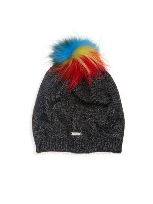 Slouch Black Hat With Rainbow Fur Pom