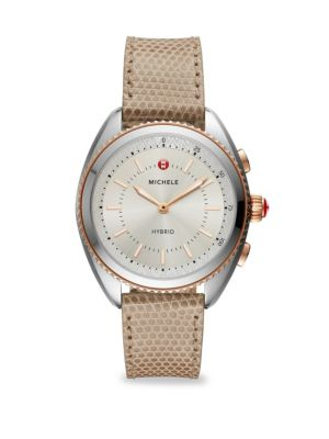 Two-Tone Rose Gold-Plated Cashmere Dial and Cashmere Lizard Hybrid Smart Watch