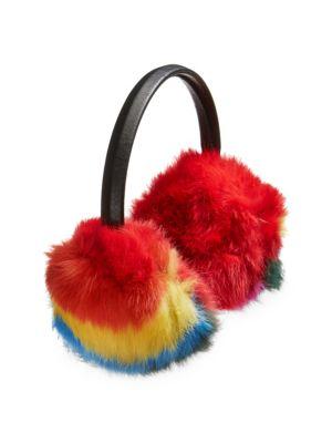 Rainbow Rabbit Fur Earmuffs
