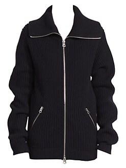 아크네 스튜디오 Acne Studios Kamilla Rib-Knit Zip-Up Sweater,Dark Navy