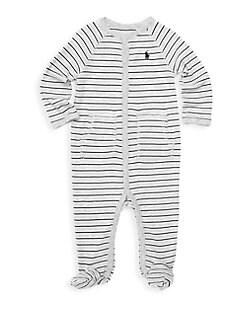 폴로 랄프로렌 남자  아기용 스트라이프 우주복 Polo Ralph Lauren Baby Boys Striped Cotton Footie