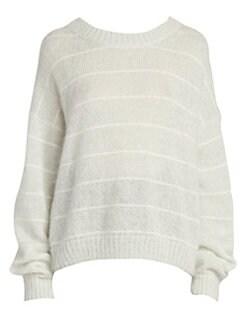 아크네 스튜디오 Acne Studios Kassidy Stripe Knit Sweater,Pale Green Ivory