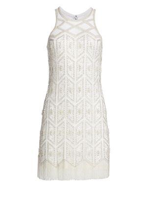 Embroidered Sleeveless Cocktail Sheath Dress
