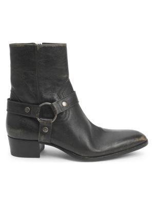 SAINT LAURENT | Wyatt 40 Leather Harness Boots | Goxip