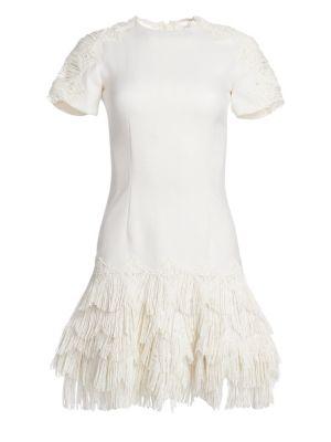 Wool-Blend Macramé Mini Dress