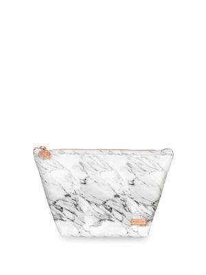 Large Laura Carrara Marblelite Trapezoid Cosmetic Pouch