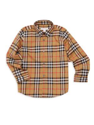 BURBERRY | Little Boy's & Boy's Signature Check Cotton Shirt | Goxip