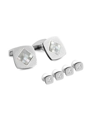 Checkered Silver Mother-Of-Pearl Cuff Link & Shirt Stud Set