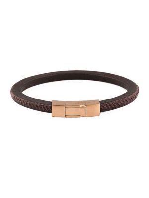Click Pelle Leather & Rose Goldplated Bracelet