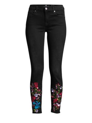 7 FOR ALL MANKIND | High-Rise Ankle Skinny Embroidered Floral Jeans | Goxip