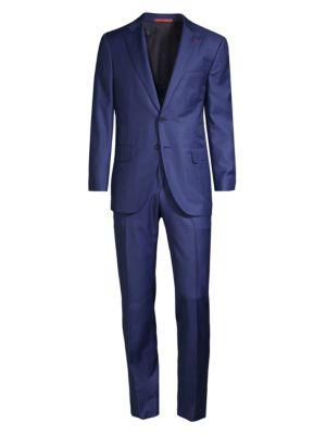 Tonal Plaid Single-Breasted Wool Suit