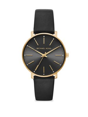 Pyper Three-Hand Black Leather Watch
