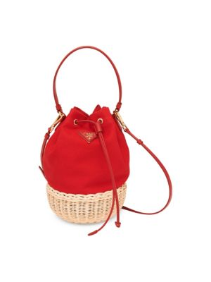 Basket & Canapa Bucket Bag in Red
