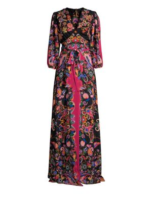 Silk Paisley Sequined Gown