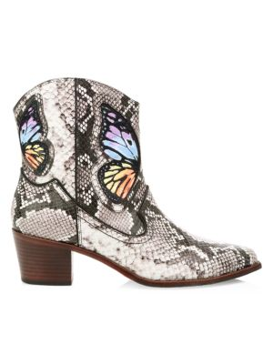 Shelby Snake-Printed Cowboy Boots With Butterfly in Multi