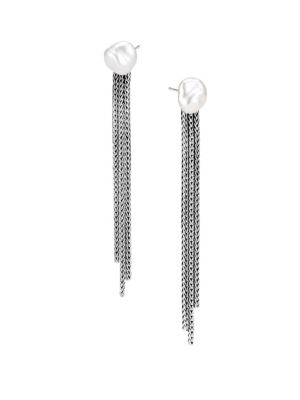 Classic Chain Fresh Water Pearl & Silver Drop Earrings