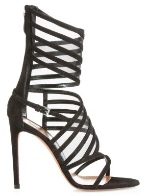 Ankle-Cuff Leather Cage Sandals