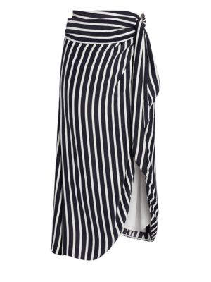 Multimedia Striped Cupro Midi Wrap Skirt