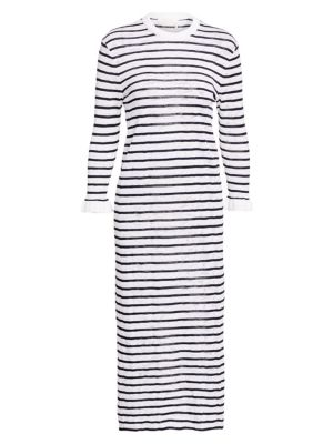 CHLOÉ Cotton Stripe Lace Knit Long Sleeve Dress
