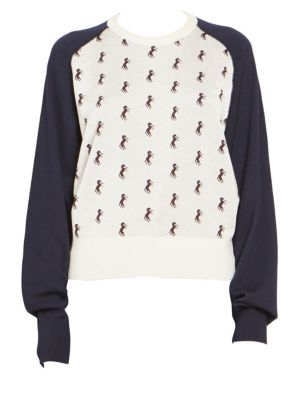 CHLOÉ Horse Embroidered Baseball Knit Sweater