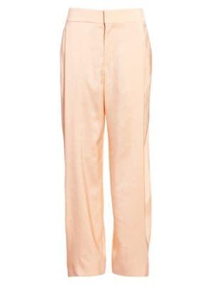 CHLOÉ Fluid Twill Pleat Front Soft Trousers