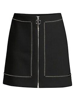 마쥬 A라인 치마 MAJE Studded-Trim A-Line Skirt,Black